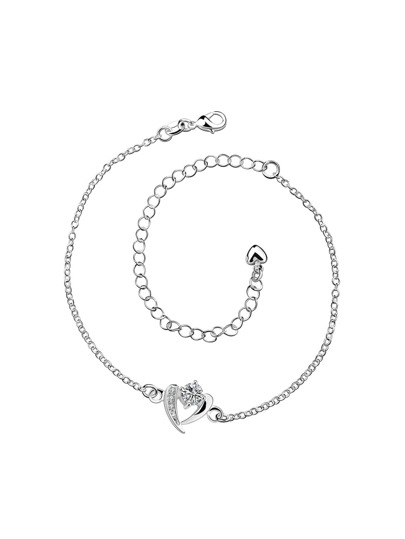 Faux Diamond Heart Detail Chain Anklet