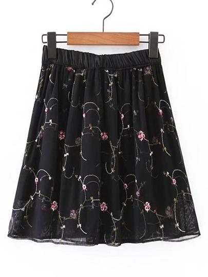 Elastic Waist Embroidery A Line Skirt