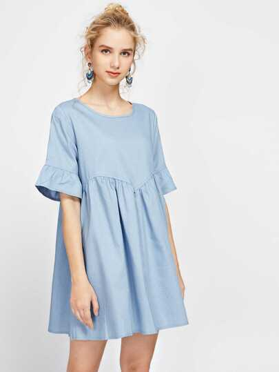 Bell Cuff Keyhole Back Smock Dress