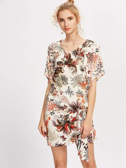 Floral Print Knot Detail Dress