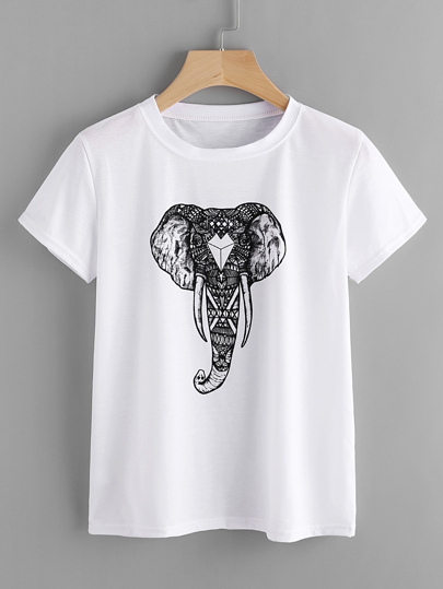 Ornate Elephant Print Tee