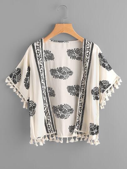 Tassel Hem Kimono Stampa Stampa Foglia