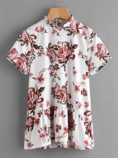 Frill Neck Buttoned Closure Back Floral Smock Tee
