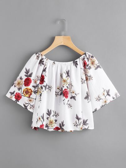 Calico Print Bell Sleeve Top