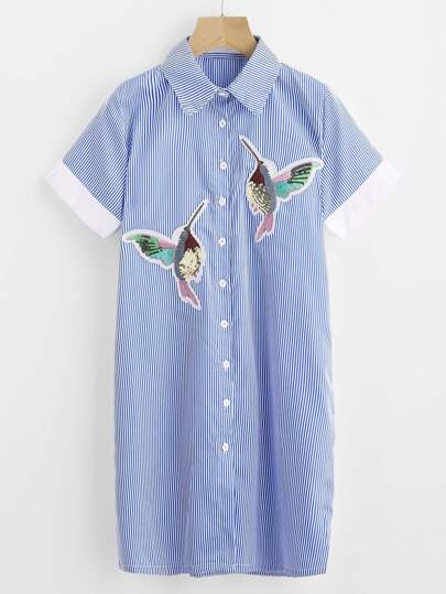 Embroidered Appliques Pinstriped Shirt Dress