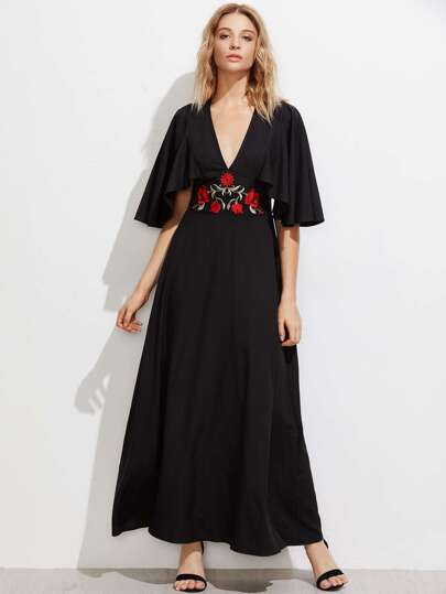 Cape Sleeve Embroidered Applique Waist Plunging Dress