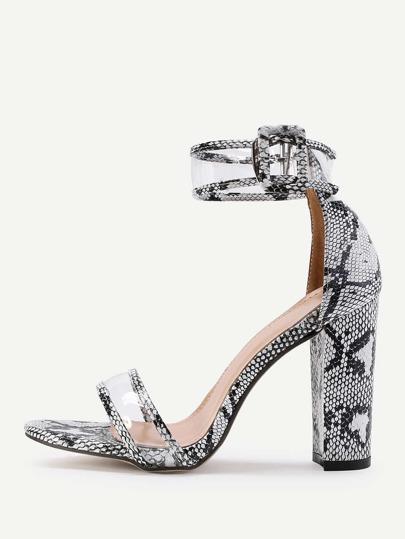 Sandalias de tacón cuadrado en dos partes con estampado de serpiente