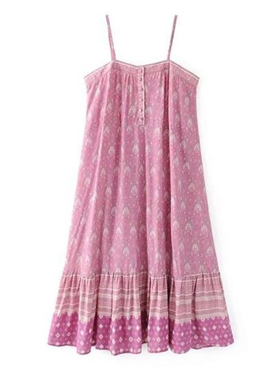 Cami Straps Ruffle Hem Boho Dress