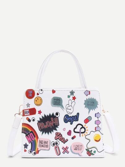 Graffiti Print PU Shoulder Bag