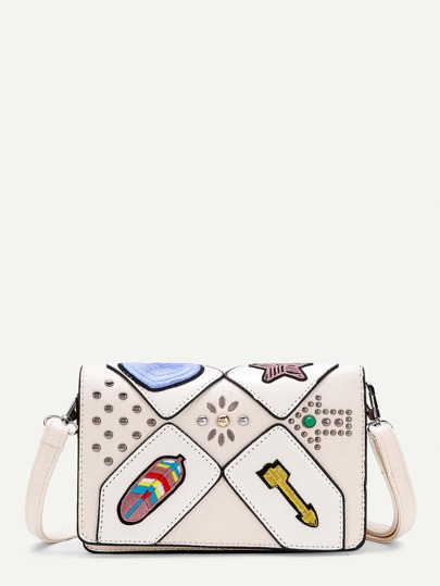 Arrow Embroidery PU Crossbody Bag With Studded