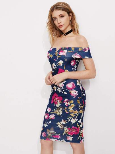 Botanical Print Bardot Neck Pencil Dress