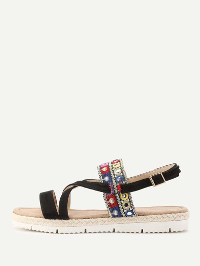 Embroidery Detail Flatform Sandals