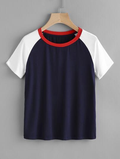 Tee-shirt manche reglan contrasté