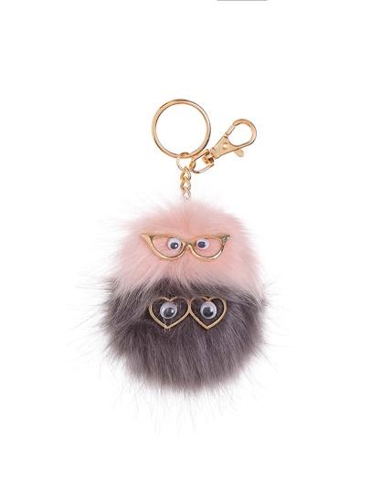 Owl Design Keychain With Pom Pom