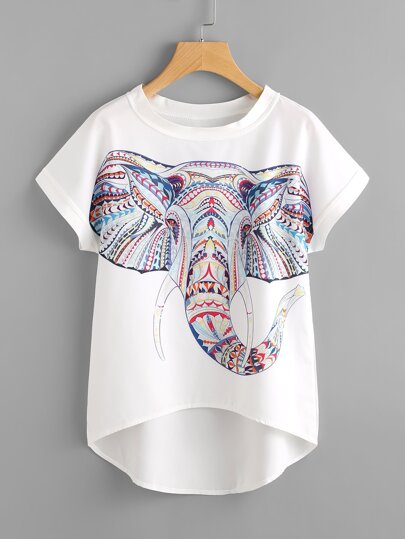 Chiffon Bluse mit Elefantmuster und abfallendem Saum