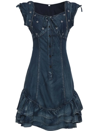 Boat Neck Snowflake Embroidered Denim Ruffle Dress