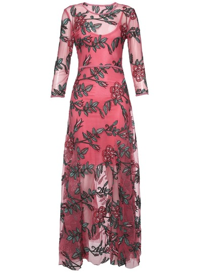 Leaves Gauze Embroidered Long Dress