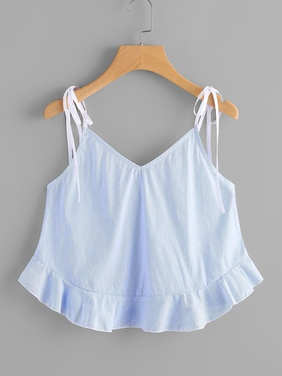 Self Tie Shoulder Frilled Hem Cami Top