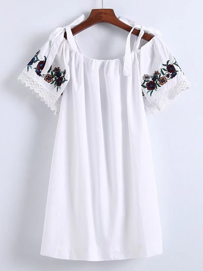 Contrast Lace Bow Tie Shoulder Embroidery Dress