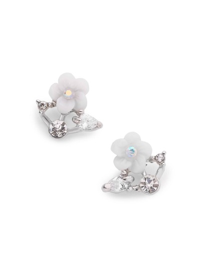 Rhinestone Detail Flower Stud Earrings