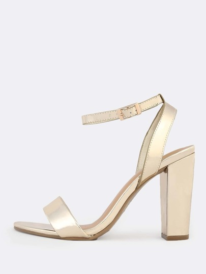 Patent Ankle Strap Heels GOLD