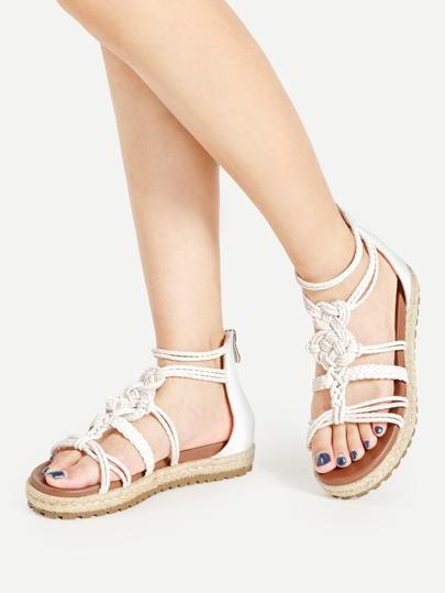 Sandalias con plataforma en tejido con tiras
