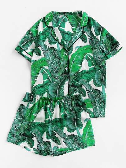 Palm Leaf Print Revere Collar Pajama Set