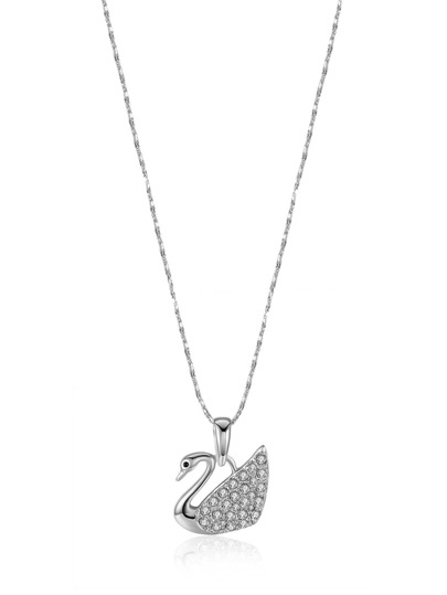 Rhinestone Detail Swan Pendant Necklace