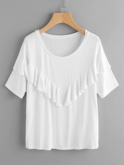 Tee-shirt découpé avec des plis col en V