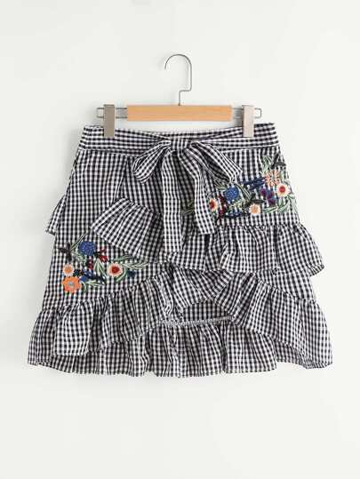 Embroidered Check Asymmetric Frill Trim Self Tie Skirt