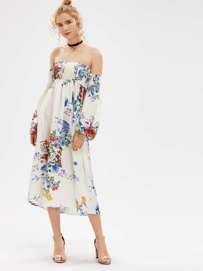 Shirred Off The Shoulder Floral Dress