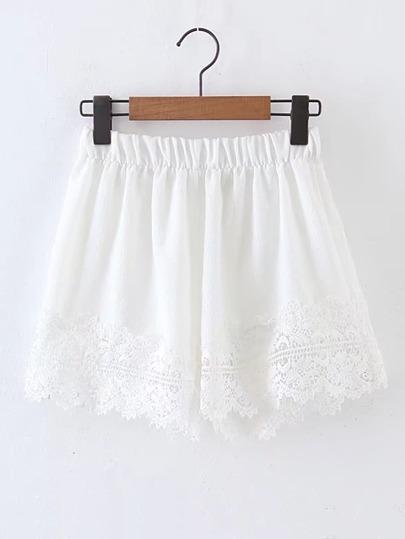 Contrast Lace Elastic Waist Shorts