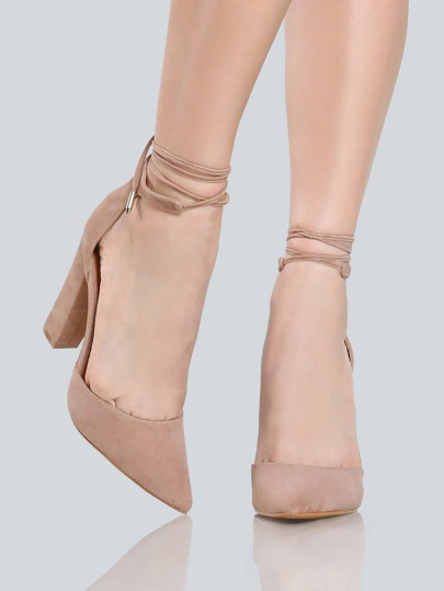 Closed Toe Wrap Pumps TAUPE