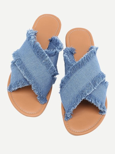 Jeans Flip Flops mit Kreuz Band