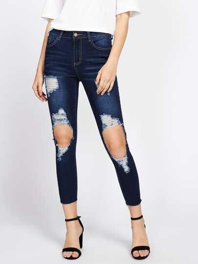 Raw Hem Shredded Rips Jeans