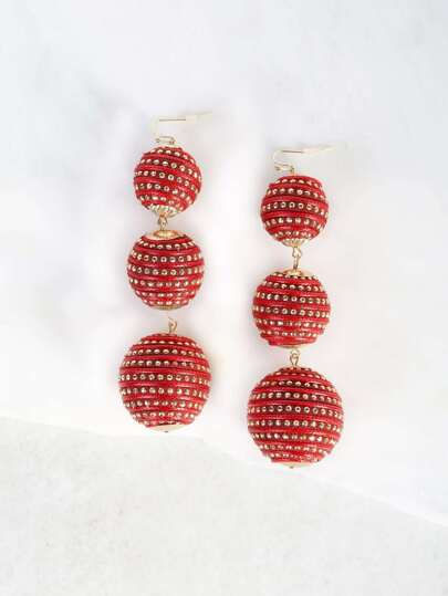 Oversized Ball Drop Earrings RED
