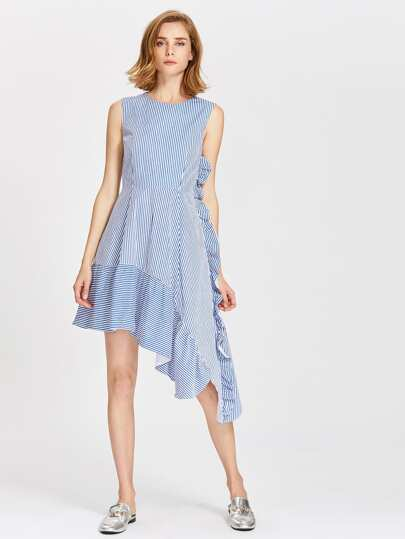 Frill Trim Fit & Flare Asymmetric Dress