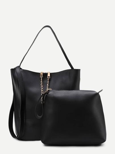 Chain Detail PU Combination Bag