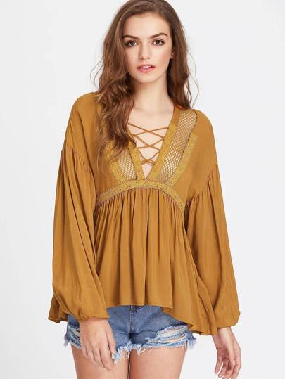 Lace And Fishnet Panel Crisscross Plunge Neck Babydoll Top