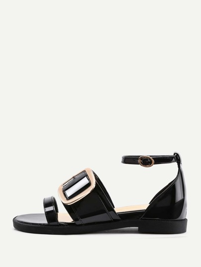 Buckle Design Patent Leather Flat Sandals