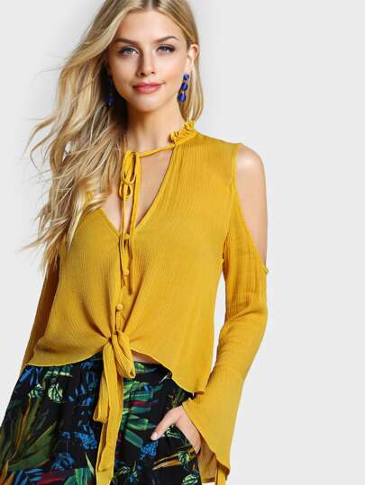 Frill Collar Cold Shoulder Bell Sleeve Blouse