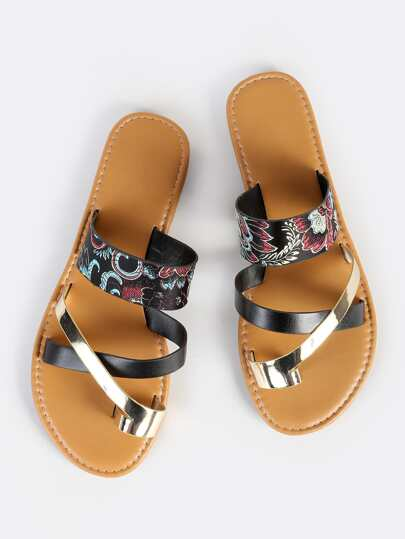 Vintage Print Toe Ring Sandals BLACK