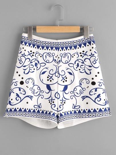 Shorts mit aufgedruckten Reißverschluss hinten - blau