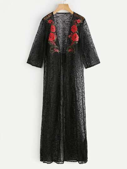 Tie Front Embroidered Flower Applique Vine Mesh Kimono