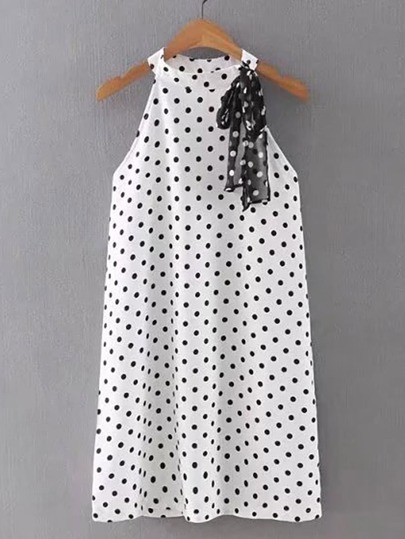 Polka Dot Lace Up Detail Tank Dress