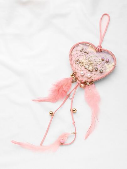 Dreamcatcher And Heart Shaped Earring Set With Feather