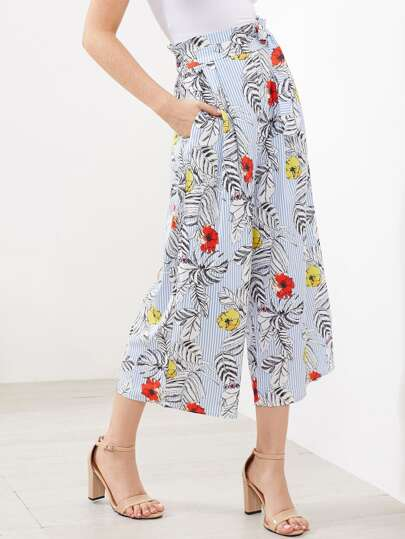 Jungle Print Vertical Striped Self Tie Wide Leg Pants