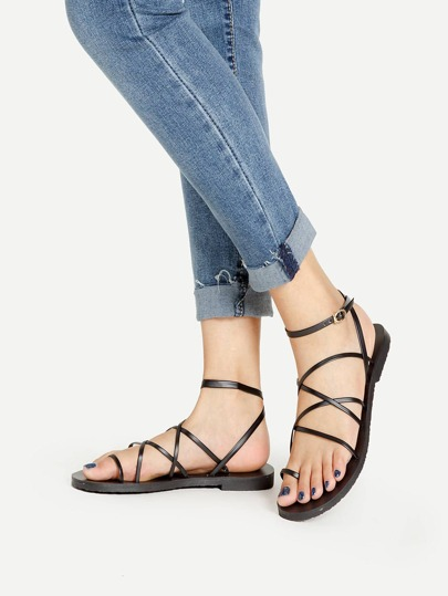 Criss Cross Ankle Wrap Strappy Sandals