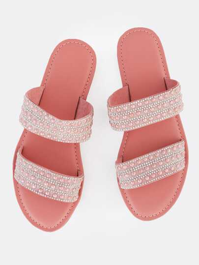 Double Band Sparkle Slip Ons MAUVE