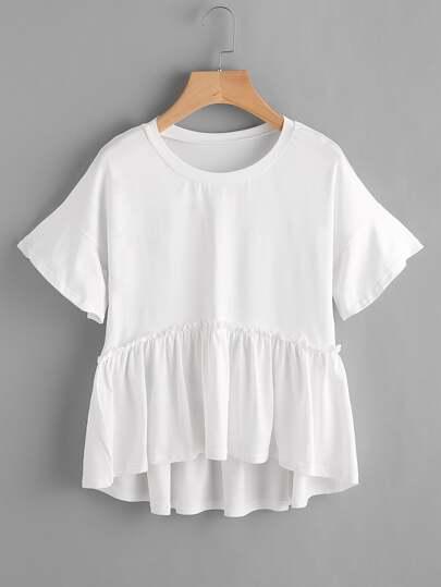 Tee-shirt trapèze découpé avec des plis